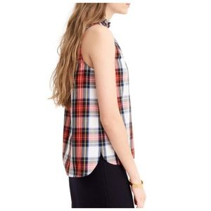J. crew Ruffle Neck in White-Out Plaid
